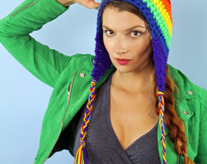 Rainbow EarFlap Hat Striped Beanie Handmade Christmas Gift Ready to Ship