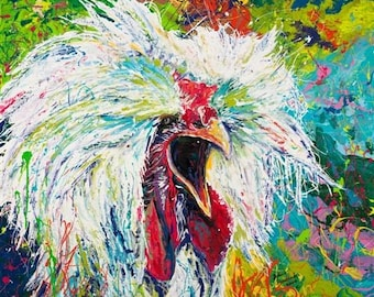Animal Art,  Chicken painting Limited Edition Giclee by Johno