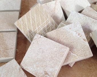 Mosaic tile supplies, set of (20) square tan tile pieces, mosaic tiles, art supplies, mosaic project supplies, mosaic tile art