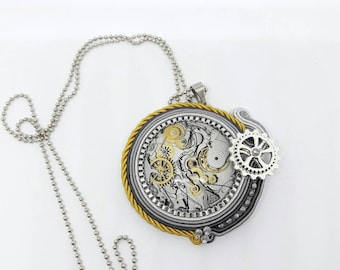Necklace with soutaches pendant clock gears