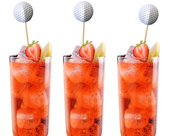 12 Golf Ball Drink Stirrers, Cupcake Toppers, Cake Toppers, Cocktail Stirrers, Swizzle Sticks  - No1130