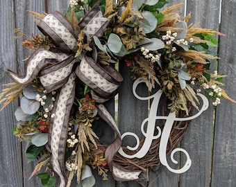 Fall Wreath for Door, Gray Eucalyptus, Cream Berries, Fall Wheat, Front Door Wreath for Fall / Autumn / Halloween / Thanksgiving, No Orange