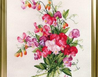 """LanSvit CROSS-STITCH KIT """"Sweet Pea"""" (A-004) /flower Longpre art classic paint beauty embroidery kreuzstich pointdecroix puntocroce"""