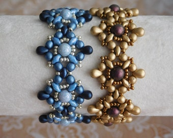 Beaded Bracelet Tutorial, Beading Pattern, Tarah Bracelet Tutorial, Beadweaving, Superduo, Czech Glass, Seed Beads, Drop beads, PDF