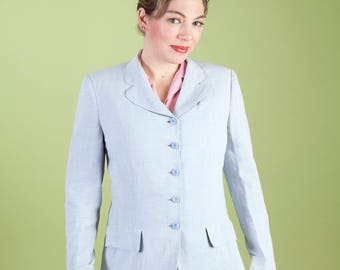Printed Vintage 1940s Gabardine Skirt Suit Light Blue Two Piece Set - Gregory of Billings Montana