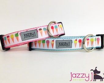Pastel Ice Cream Cones Summer Dog Collar