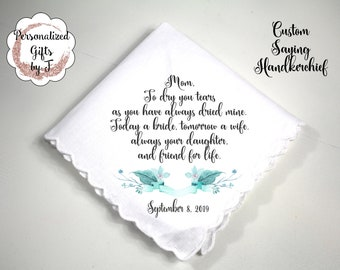 Aunt Gift Mother of the Bride Gift Custom Handkerchief Wedding Hanky Your custom Text Hanky Mother of the Groom Hanky Grandmother Gift bq3