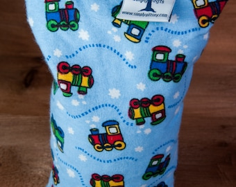 Medium Corn Bag - Flannel Choo Choo - Hot and Cold Therapy, Moist Heat, Natural Pain Relief, Gifts for All Ages, Heating Pad