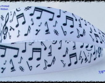"""Musical Notes Printed white Grosgrain Ribbon 7/8"""" WIDE Scrapbooking HairBows Parties DIY Projects az199"""