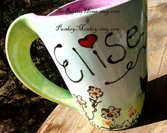 You design pottery mug custom personalized kids cup or adult mug MADE TO ORDER