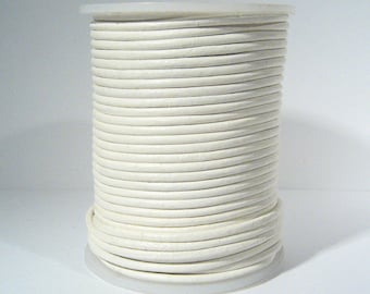 2mm Round Indian Leather - White - L2-105 - Choose Your Length