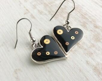 Black Steampunk Earrings. Silver Heart Earrings. Medium Earrings. Gothic Wedding. Goth Earrings. Dark Earrings. Small Drop Earrings.
