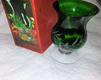LENOX Emerald Hurricane Vase  with Etched glass in the original box , excellent condition and Reduced shipping