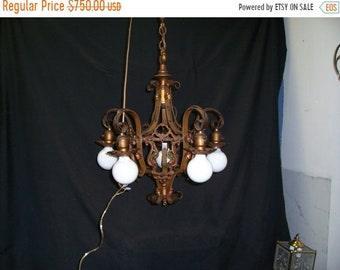 ON SALE 1920s  Vintage  Polychrome hanging   5 Light Chandelier antique brass  finish  wrought iron spanish revival, hanging lamp , tudor st