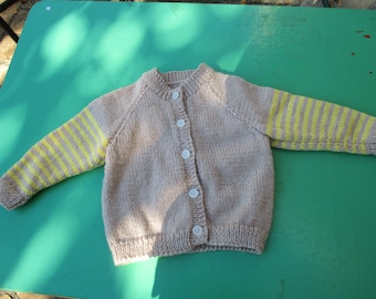 Hand Knitted Cardigan - Gorgeous Tan and Yellow Striped Sleeved Cardigan for Girl or Boy Aged around 1-2 years.