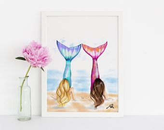Mermaids (Fashion Illustration Print) (Fashion Illustration Art - Fashion Sketch prints - Home Decor - Wall Decor )