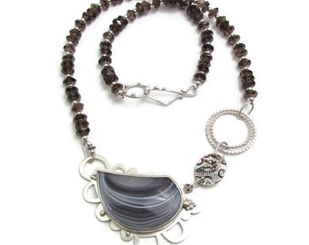 Banded Agate and Smoky Quartz Necklace - Focal Necklace - Statement Necklace - Large Stone Necklace - Modern Silver Necklace - Serenity