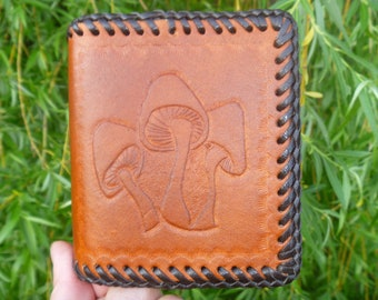 Hand tooled leather credit card case