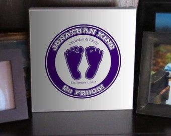 Custom Made Horned Frogs Baby Footprint