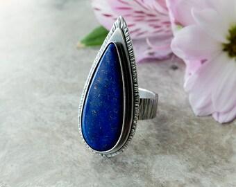 CHOOSE YOUR SIZE: Lapis Lazuli Ring, Gemstone Ring, Sterling Silver Stone Ring, Artisan Ring, Custom Size, Blue Stone Ring, Lapis Ring