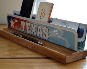 Texas License Plate Desk Organizer - Business Card Holder - Desk Phone Stand - Metal Business Card Holder - Office Decor - Desk Accessories