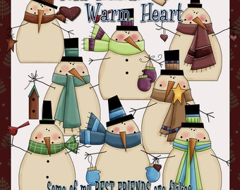 Cold Hands Warm Heart Snowmen - Digital Images for Scrapbook and Paper Crafts