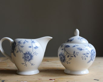 Vintage Creamer and Sugar Bowl with Lid, Decorated with Blue Flowers, Prague Rose Print, Churchill China
