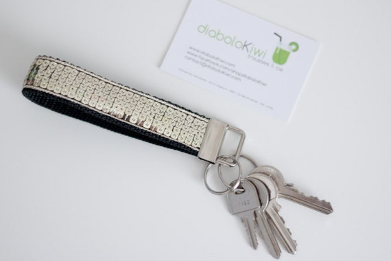 Keychain wristlet - Paillettes - Light Gold