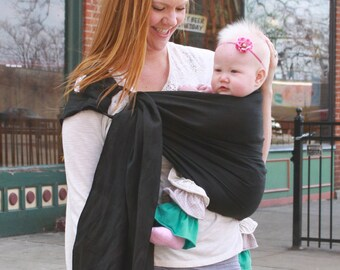 Black Linen Ring Sling Baby Carrier -Instructional DVD Included - Pleated Shoulder for Comfort - Summer Baby Sling -