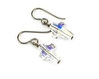 Crystal Cross Niobium Earrings, Clear Crystal Aurora Borealis Swarovski Cross Titanium Earrings for Sensitive Ears, Hypoallergenic No Nickel
