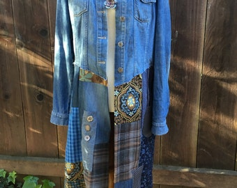 Long patched jeans jacket size M-L. Upsycled clothing, repurpose clothing, redesign clothing, recycle woman clothing
