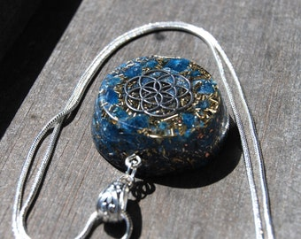 Blue Apatite Orgonite® Orgone Pendant Flower of Life Necklace