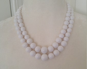 vintage 1950s white beaded double strand necklace
