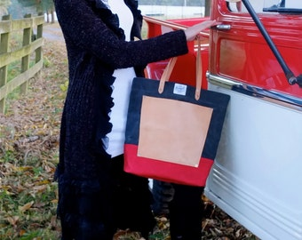 Waxed Canvas Tote Bag with Leather Handles/Leather Pocket- Large Gray/Red Tote Perfect for Everyday, Travel, School,  or the Market