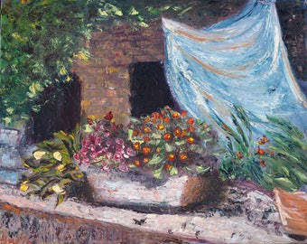 Original Oil Painting on canvas flowers cityscape