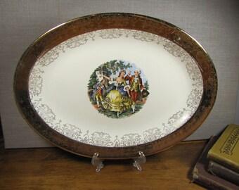 Crest-O-Gold - Warranted 22K - Gold Rim Colonial Motif Serving Platter