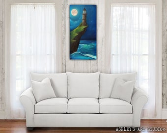 """Light House on Cliff Starry Night Sky - Original Oil Painting 30"""" x 15"""" - Hand Painted"""