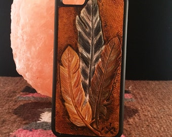 Hand Tooled 'Feathers' Leather Iphone 6 case
