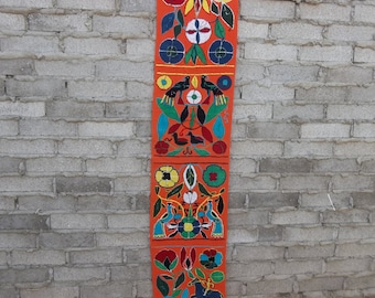 Vintage Rug Wall Hanging Runner Multicolor Shaggy Ethnic Tribal 1980s