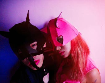 Mscheap handmade leather cat woman mask