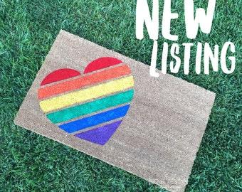 Gay Pride Doormat / LGBT Wedding Gift / Pride Heart / Outdoor Doormat / Housewarming Gift / Newlywed Doormat / Unique Gift / Gay Doormat