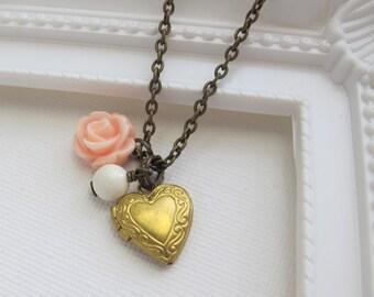 Pink Rose Heart Photo Locket Necklace. Heart Brass Locket, Ivory Pearl, Pastel Pink Rose. Romantic Vintage Style Wedding Jewelry