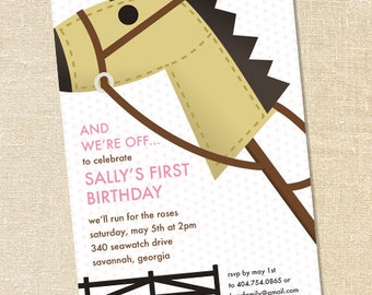 Sweet Wishes Pink Girl's Hobby Horse Kentucky Derby Party Invitations - PRINTED - Digital File Also Available