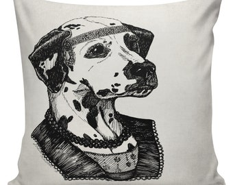 Dalmation Pillow Cover Cotton Canvas Throw Pillow 18 inch square Roaring 20s Dalmatian Esquiress #UE0339 Anthropomorphism