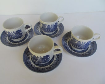 Vintage  Churchil  Coffee - Tea Cup with Saucer -  set of 4 Cups with Saucers