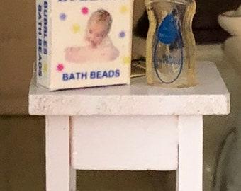 Miniature Baby Shampoo and Bubbles Box, Dollhouse Miniatures, 1:12 Scale, Dollhouse Accessories, Decor, Mini Bath Products