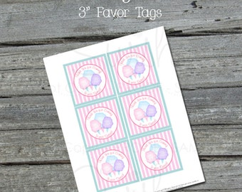 Cotton Candy Favor Tags - Digital  Printable Gift Tag - INSTANT DOWNLOAD