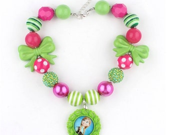 Frozen Princess Anna, Disney Frozen Necklace, Bubblegum Beads, Anna Costume, Chunky Bead, Little Girl Child, Photo Prop
