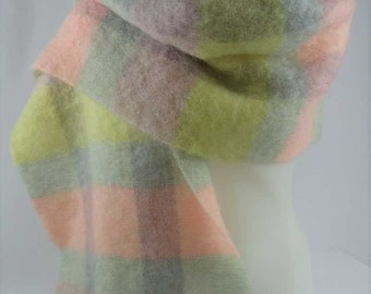 """St Michaels MOHAIR Scarf Wrap Shawl Made in Scotland Pastels Plaid 16""""x70"""""""