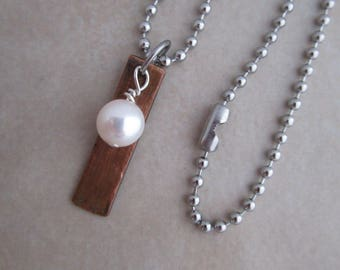 light of my life necklace white pearl stainless steel oxidized copper